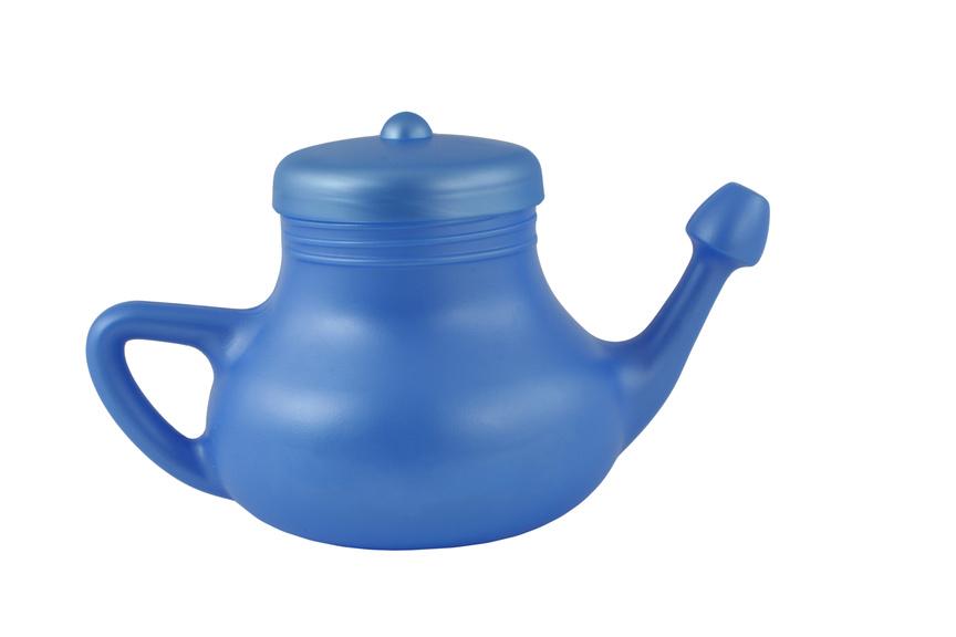 A picture of a blue, plastic net pot