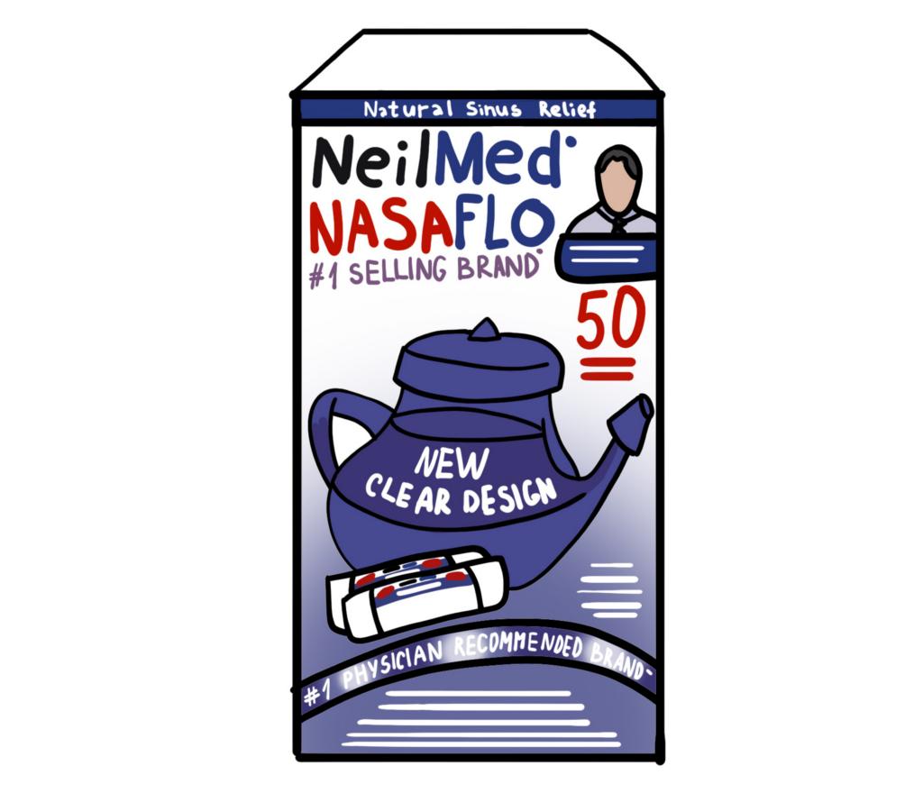 Illustration of NeilMed NasaFlo Neti Pot used in allergic rhinitis treatment