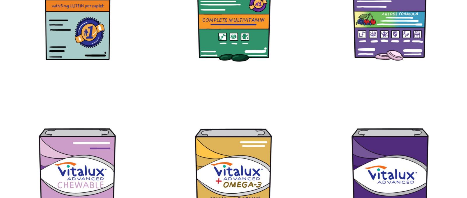 Illustration of 6 Vitalux different Vitalux Products